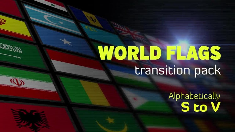 Flat World Flags Transition Pack-S to V: Motion Graphics