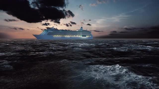 Cruise Ship Passes Sunset: Stock Motion Graphics