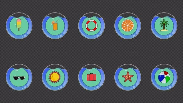 Summer Watery Icons Pack: Stock Motion Graphics