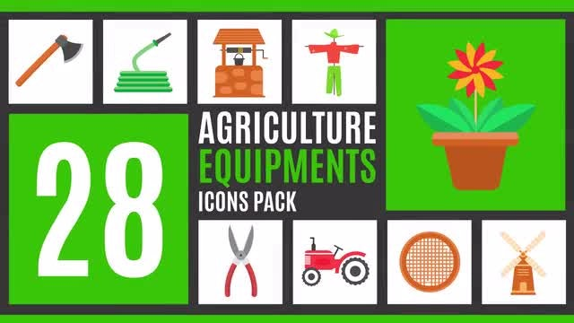 28 Agriculture Equipment Icons Pack: After Effects Templates