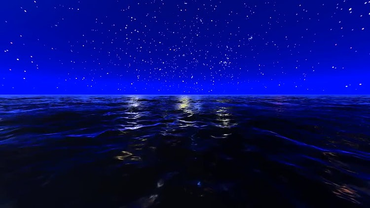 Night Ocean And Stars: Motion Graphics