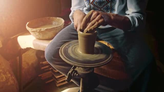 Artisan Shaping Clay: Stock Video