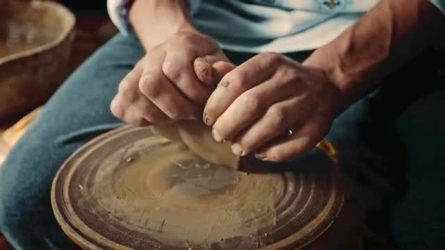 Potter Kneading Clay: Stock Video