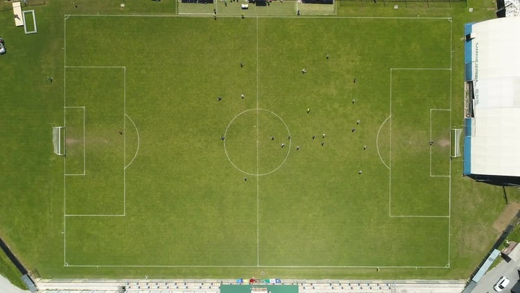Top-Down Of Soccer Field: Stock Video