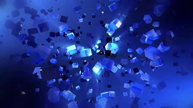 Cubes Fly In Space: Stock Motion Graphics