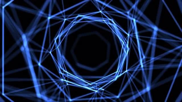 Blue Plexus Polyhedron: Stock Motion Graphics