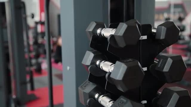 Dumbbell Stand In Gym: Stock Video