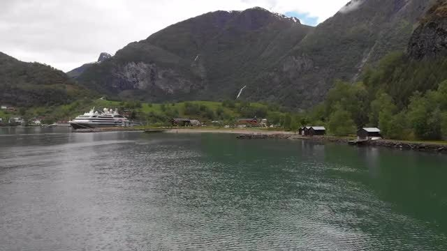 Cruise Ship In The Fjord: Stock Video