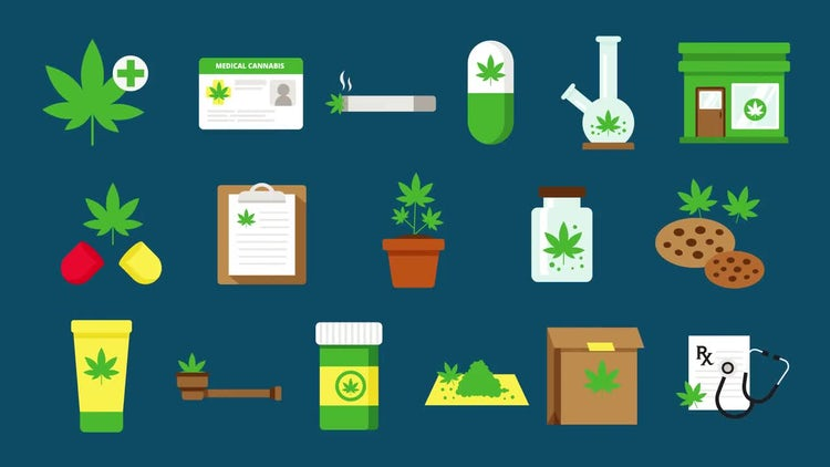 Medical Marijuana Icons: Stock Motion Graphics