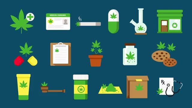 Medical Marijuana Icons: Stock Motion Graphics