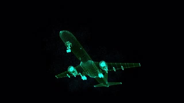 Airplane Hologram: Stock Motion Graphics