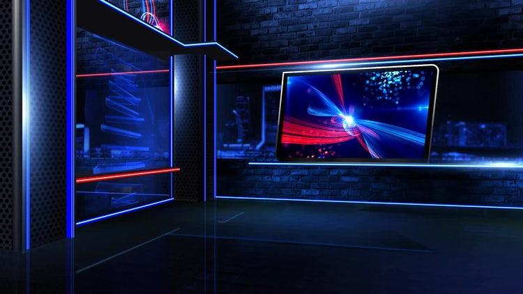 Virtual Newsroom Neon Wide: Stock Motion Graphics