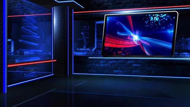 Virtual Newsroom Neon Close: Stock Motion Graphics