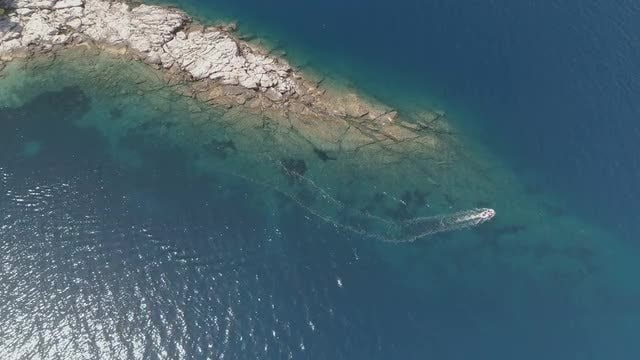 Aerial of Motorboat: Stock Video