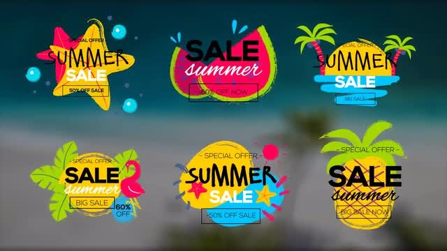 6 Summer Sale Titles: Premiere Pro Templates