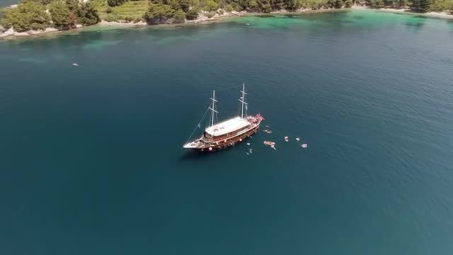 Old Wooden Ship Aerial: Stock Video