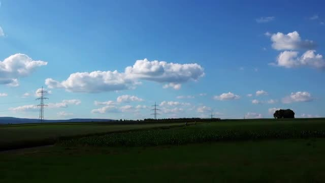 Landscape With Electric Poles: Stock Video