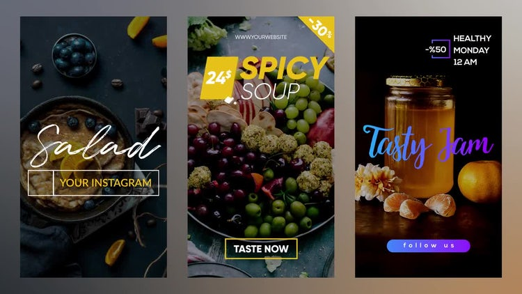 Instagram Food Stories And Post: Motion Graphics Templates