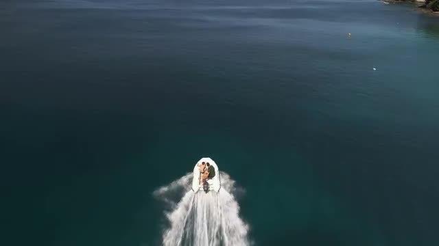 Zodiac Boat On The Sea: Stock Video