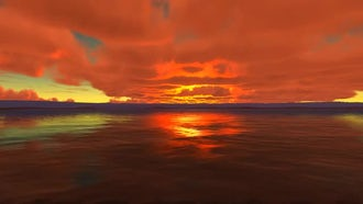 Red Cloudy Sunset At Sea: Motion Graphics