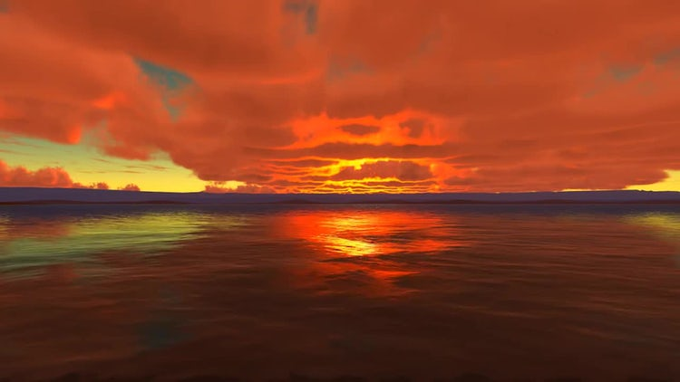 Red Cloudy Sunset At Sea: Stock Motion Graphics