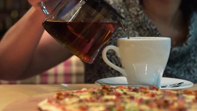 Tea And Pizza: Stock Video