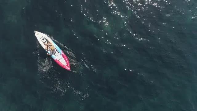 Man On Kayak Aerial: Stock Video