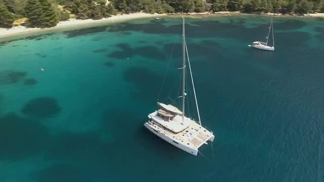 Catamaran On The Sea: Stock Video