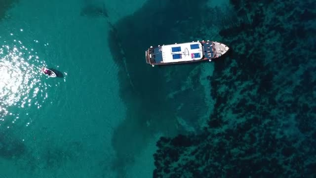 Aerial Of A Yacht: Stock Video