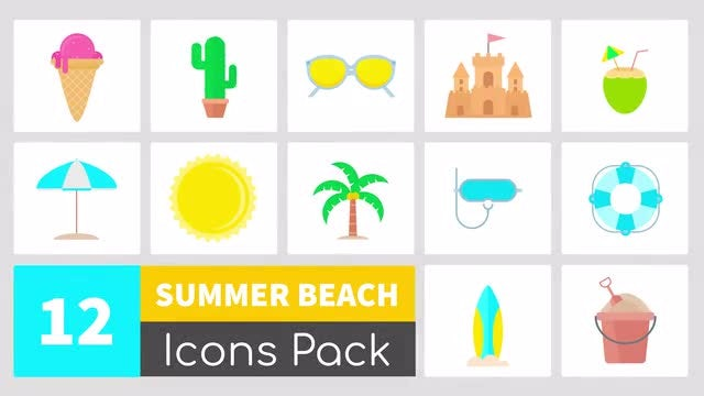 Summer Icons Pack: Stock Motion Graphics