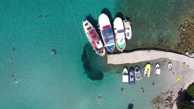 People And Boats Aerial: Stock Video