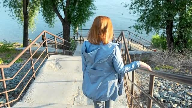 Walking Down Outdoor Stairs: Stock Video