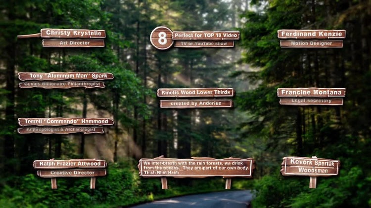 Kinetic Wood Lower Thirds: After Effects Templates