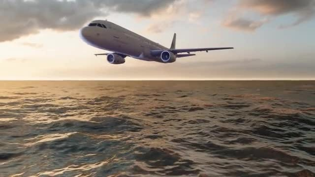 Airplane Above The Ocean: Stock Motion Graphics