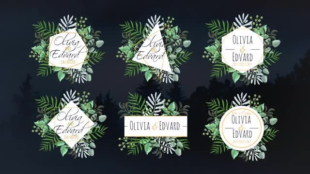 Tropical Wedding Labels: Premiere Pro Templates