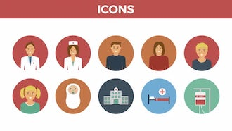 30 Medical Flat Icons: After Effects Templates