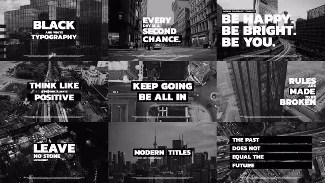 Black And White Typography: Premiere Pro Templates