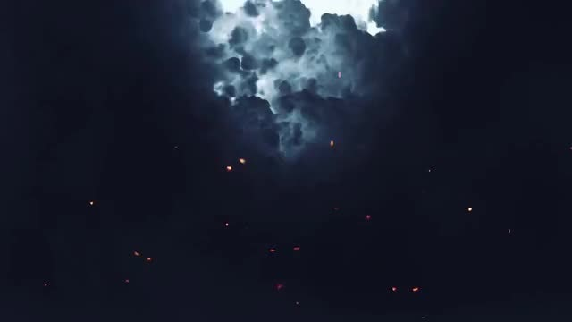 Stormy Sky With Flying Sparks: Stock Motion Graphics