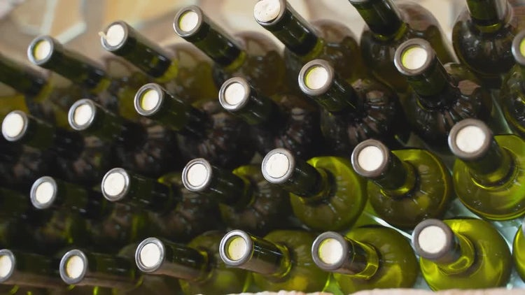 Stacked Wine Bottles: Stock Video