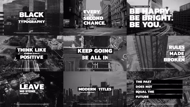 Black And White Typography: After Effects Templates