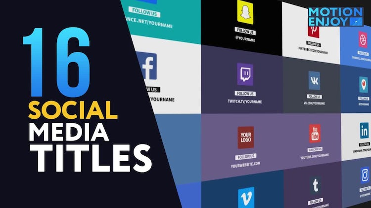 16 Social Media Titles: After Effects Templates