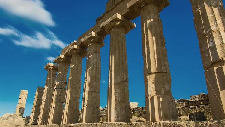 Ancient Acropolis In Selinunte Italy: Stock Video