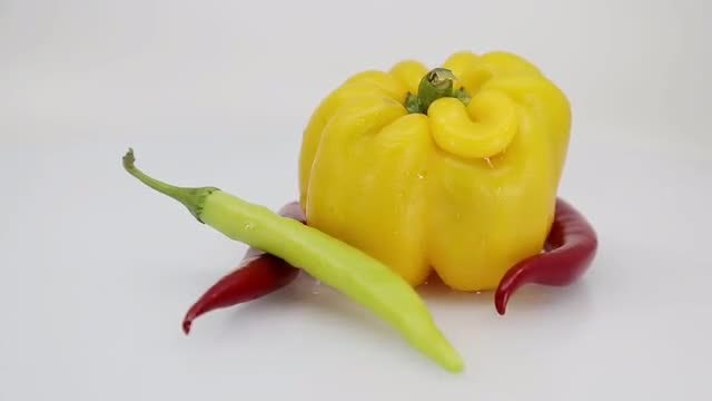 Chilies With Yellow Pepper: Stock Video