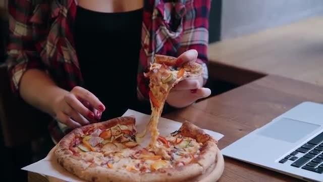 Taking Slice Of Pizza: Stock Video