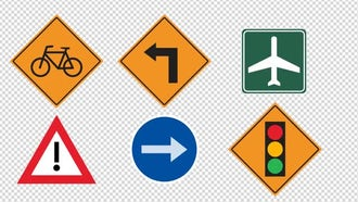 14 Traffic Signs Animated : Motion Graphics