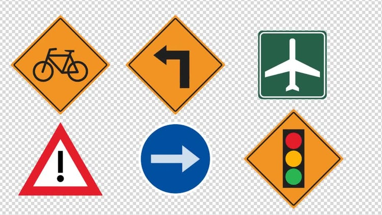 14 Traffic Signs Animated : Stock Motion Graphics