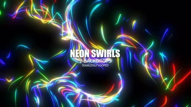 Neon Swirls Loop: Stock Motion Graphics