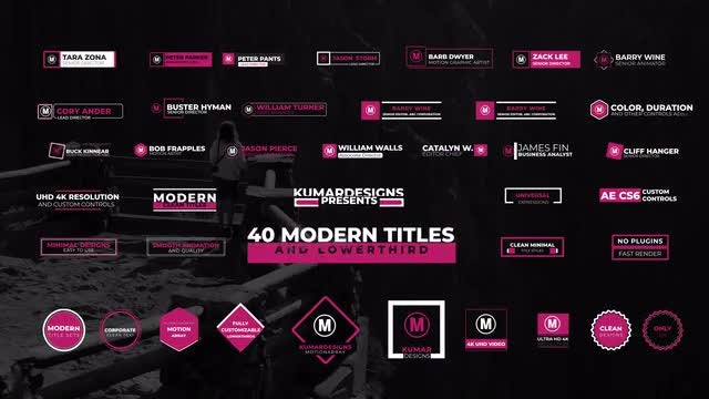 40 Modern Titles And Lowthird: After Effects Templates
