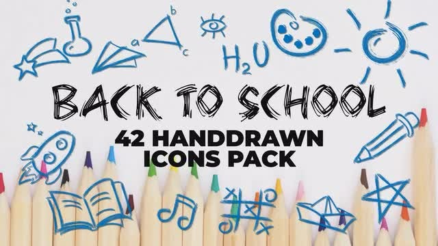 42 Back To School Icons Pack: Stock Motion Graphics