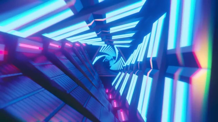 Neon Tunnel Loop 4K: Stock Motion Graphics